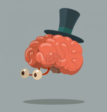 Illustration for Vector illustration of Cartoon brain with top hat - Royalty Free Image