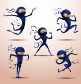 Vector illustration of Ninja warriors set