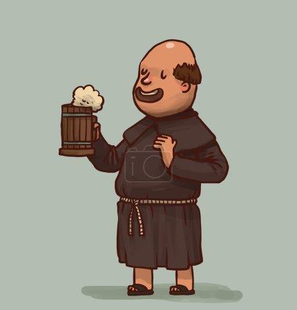 Monk with mug of beer