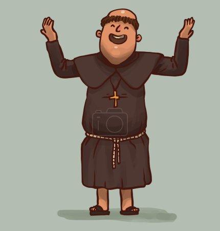 Illustration pour Illustration vectorielle du moine priant heureux - image libre de droit