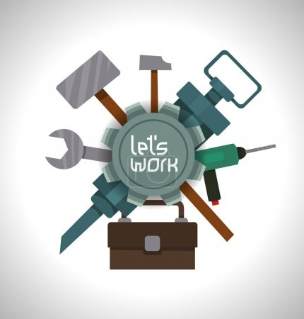 Illustration for Vector illustration of label with stylized tools - Royalty Free Image