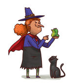 witch with frog and cat