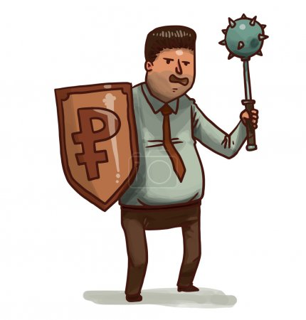 Illustration for Vector illustration of Financial warrior with ruble shield and mace - Royalty Free Image
