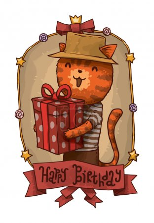 Illustration for Vector illustration of Cat in hat with gift - Royalty Free Image