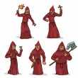Vector set of inquisitors in red robes with hoods