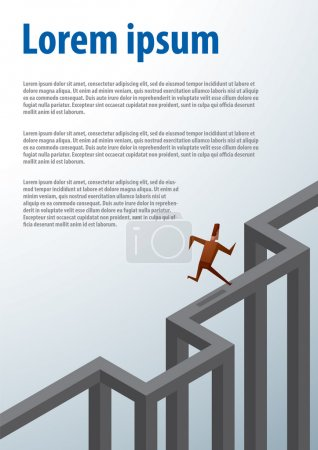 Business illustration, businessman running to the top