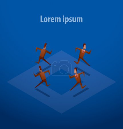 Business illustration, businessmen running on a circle blue