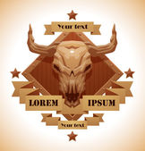 Vector Animal's skull emblem bull Image of brown diamond-shaped wooden emblem with a beige banners and stars with cartoon image of a beige bull's skull with horns in the center on a white background