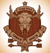 Vector Drawing animal's skull emblem moose Image of brown round wooden emblem with beige banners and stars on top and bottom and arrows below with cartoon image of drawing beige moose's skull with horns in the center on white background