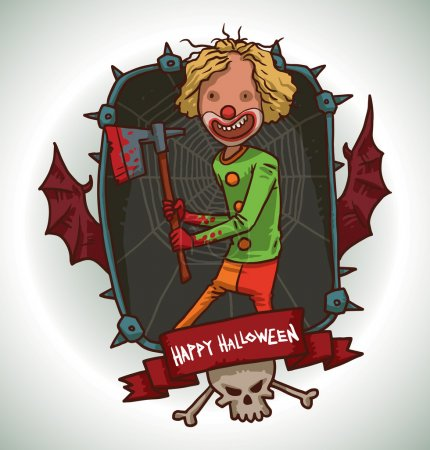 Illustration for Vector image of dark gray rectangular frame with thorns, the red bat wings, skull and crossbones, with a red banner below, with cartoon image of evil clown with blond hair with yellow-red pants, green jacket, red shoes and with a bloody axe in hands. - Royalty Free Image