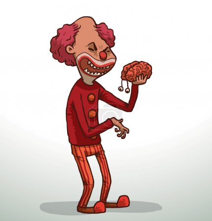 Illustration for Vector Evil clown with brain. Cartoon image of evil clown with pink hair with a red clown nose, in red striped pants, a red jacket and red boots with pink brain with eyes in his hand on a light background. In the theme of Halloween. - Royalty Free Image