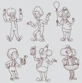 Set of line happy funny clowns