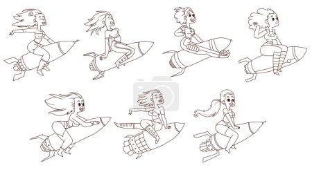 Girls on rockets set, line art