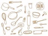 Kitchen Utensils set line art