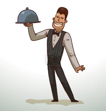 Illustration pour Vector Serveur aux cheveux foncés avec une cloche. Image de bande dessinée d'un garçon aux cheveux foncés en pantalon noir, chemise blanche, gilet noir et noeud papillon avec une cloche grise à la main souriant sur un fond clair . - image libre de droit