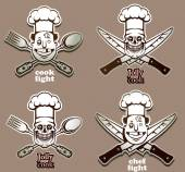 Vector Cooking emblems set Cartoon image of four monochrome cooking emblems in the form of heads in the chef's hats and with crossed cutlery on a gray background