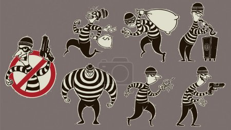 Retro robbers in masks set