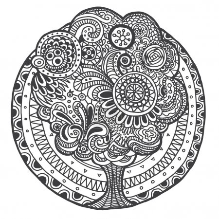 Ethnic doodle floral retro black and white tree round pattern