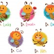 Vector Set of five bees. Cartoon image of five different funny yellow bees in various poses on a light background. The text is written in curves.