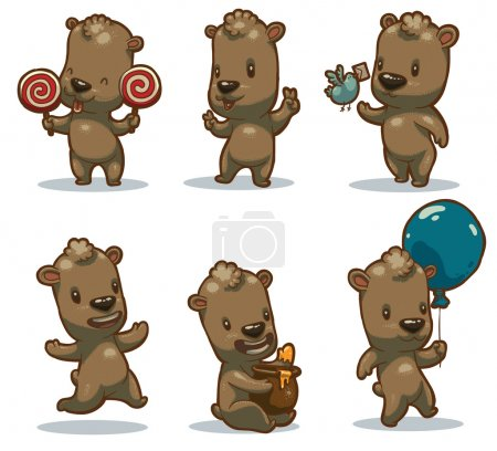 Illustration pour Vector Ensemble d'ours drôles. Image de dessin animé de six drôles d'oursons bruns dans diverses poses sur un fond clair . - image libre de droit