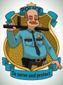 Policeman with a baton frame
