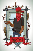 Vector image of gray metal rectangular frame with barbed wire skulls bones knives and red banner with cartoon image of black man criminal in red scarf covered his face with a black gun tucked on the belt in the center on a light background