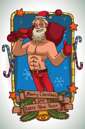 Christmas card Strong Santa Claus with red bag