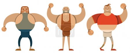 Set of big sportsmen in flat style