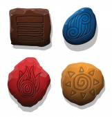 Set of colorful stones with symbols