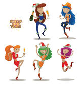 Vector Set of five dancing club girls Cartoon image of five funny dancing club girls different looks in various poses with various attributes of Christmas on a light background