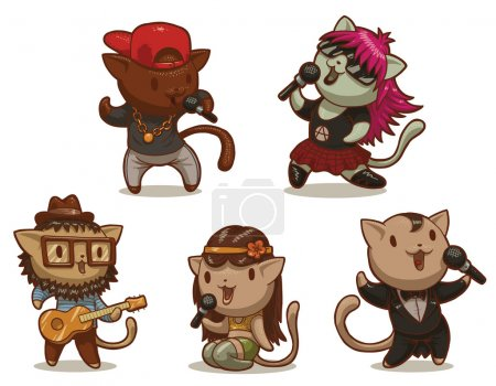 Set of five cats singing songs in different styles