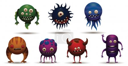 Illustration for Vector Set of funny round bacteria viruses. Cartoon image of seven different funny round bacteria viruses of different colors on a light background. - Royalty Free Image