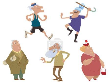 Illustration pour Ensemble vectoriel de personnes âgées. Image de bande dessinée de personnes âgées faisant des exercices sportifs ou juste debout sur un fond clair . - image libre de droit