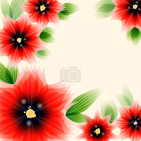 Illustration for Floral greeting card with poppies and place for text - Royalty Free Image