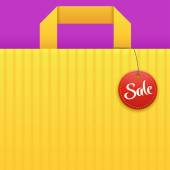 Illustration of yellow bag background with sale red label
