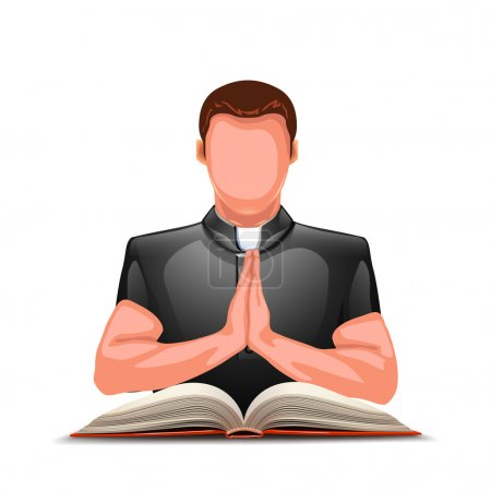 priest praying with book