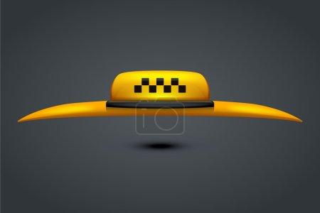Illustration pour Illustration de taxi symbole avec une partie du toit de la voiture sur fond gris - image libre de droit