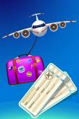 Illustration of airplane in the sky flying with suitcase