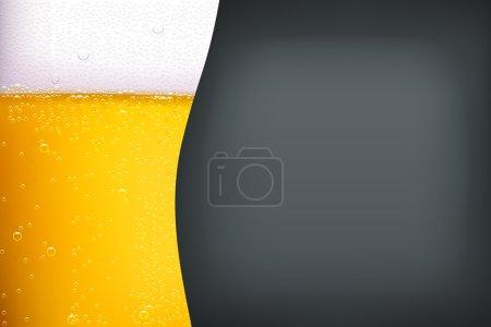 Illustration pour Illustration de bière légère avec bulles sur fond gris foncé - image libre de droit