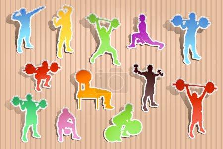 Illustration pour Illustration du livre la valeur des athlètes dans des poses différentes - image libre de droit