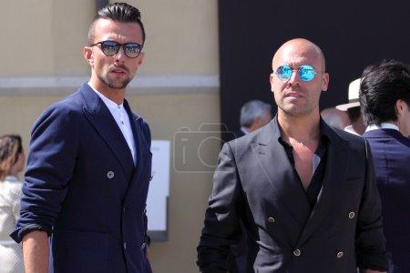 Men on Pitti uomo 87 fashion fair in Florence, Italy