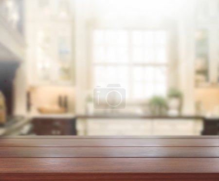 Photo for Table Top And Blur Interior of Background - Royalty Free Image