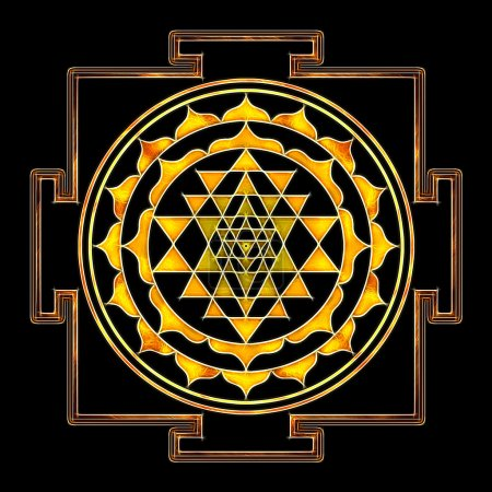 Photo pour Illustration du symbole sri yantra . - image libre de droit