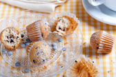 chocolate muffins isolated in the foreground on rustic wooden table