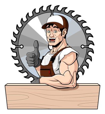 Illustration pour Illustration conceptuelle d'un charpentier sympathique. Il s'appuie sur une planche de bois (avec de l'espace pour votre texte) et donne un pouce vers le haut. Derrière lui se trouve une scie circulaire. Isolé sur fond blanc . - image libre de droit