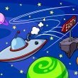 Funny illustration of a flying saucer en route to ...