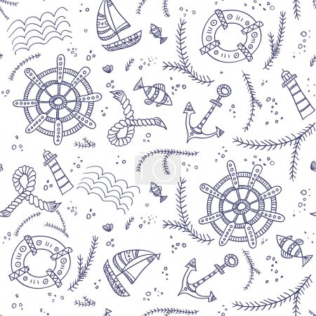 Seamless pattern with marine items