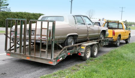 Cadillac on a flatbed