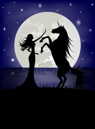 Silhouette of beautiful girl and unicorn