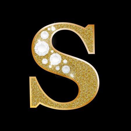 Illustration pour Lettre S d'or et de diamant - image libre de droit